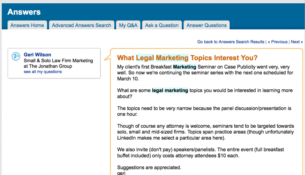 Lawyers and Linkedin - Success Stories, Cautions and a Small